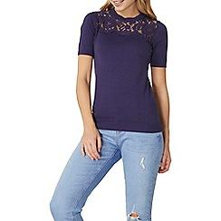Dorothy Perkins - Purple lace yoke knitted t-shirt