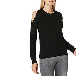 Dorothy Perkins - Black lace cold shoulder jumper
