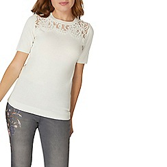 Dorothy Perkins - White lace yoke knitted top