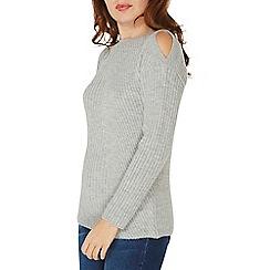 Dorothy Perkins - Grey soft stitch cold shoulder jumper