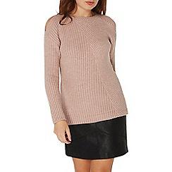 Dorothy Perkins - Pink soft stitch cold shoulder jumper