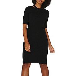 Dorothy Perkins - Black split neck knitted bodycon dress