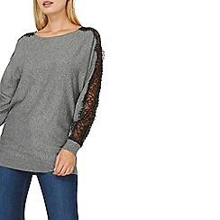 Dorothy Perkins - Grey lace sleeves jumper