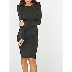 Dorothy Perkins - Charcoal ruffle shoulder knitted dress