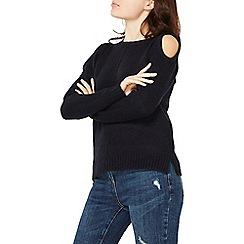 Dorothy Perkins - Navy cold shoulder jumper