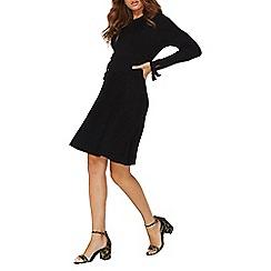Dorothy Perkins - Black long tie sleeves knitted skater dress