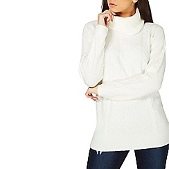 Dorothy Perkins - Ivory cowl neck cable knitted tunic top