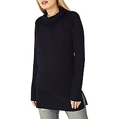 Dorothy Perkins - Navy cowl neck knitted tunic jumper