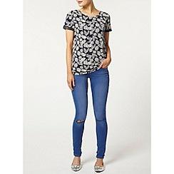 Dorothy Perkins - Navy leaf bling t-shirt