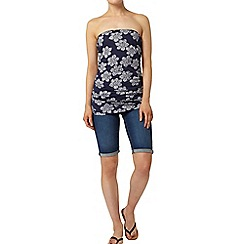 Dorothy Perkins - Navy floral ruched bandeau top