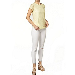 Dorothy Perkins - Lemon lace front t-shirt