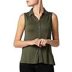 Dorothy Perkins - Khaki button front sleeveless shirt