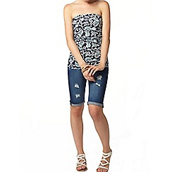 Dorothy Perkins - Navy paisley ruched bandeau top