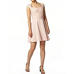Dorothy Perkins - Blush cap sleeve jersey skater dress with lace detail