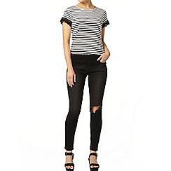 Dorothy Perkins - Stripe lace trim t-shirt