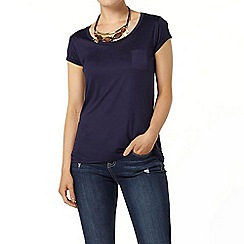 Dorothy Perkins - Navy chiffon pocket t-shirt