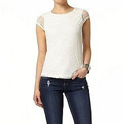 Dorothy Perkins - Ivory stripe mesh t-shirt
