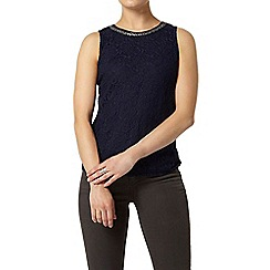 Dorothy Perkins - Navy bling lace shell top