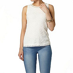 Dorothy Perkins - Ivory bling lace shell top