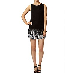 Dorothy Perkins - Black tassel trim vest top