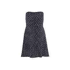 Dorothy Perkins - Navy spot bandeau dress