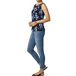 Dorothy Perkins - Blue folk print satin trim top