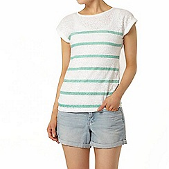 Dorothy Perkins - Mint stripe burnout t-shirt