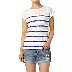 Dorothy Perkins - Cobalt stripe burnout t-shirt