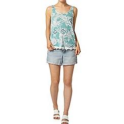 Dorothy Perkins - Jade floral crochet trim vest
