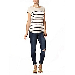 Dorothy Perkins - Navy stripe burnout t-shirt