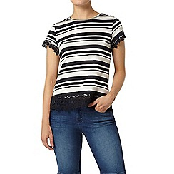 Dorothy Perkins - Stripe lace trim t-shirt