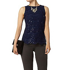 Dorothy Perkins - Navy eyelash lace sequin shell top