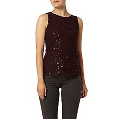Dorothy Perkins - Port eyelash lace sequin shell top