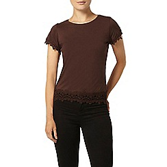 Dorothy Perkins - Nutmeg lace trim t-shirt