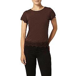 Dorothy Perkins - Nutmeg lace trim t-shirt