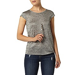 Dorothy Perkins - Grey spacedye zip back t-shirt