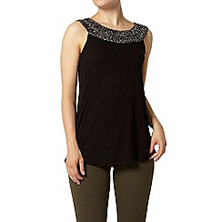 Dorothy Perkins - Black cornelli trim shell top