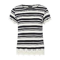 Dorothy Perkins - Tall stripe lace trim t-shirt