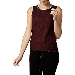 Dorothy Perkins - Nutmeg border lace bling shell top