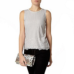 Dorothy Perkins - Silver border lace bling shell top