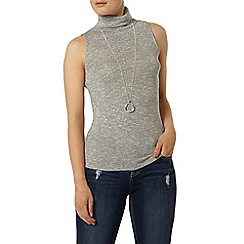 Dorothy Perkins - Silver sleeveless roll neck top