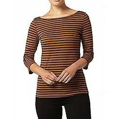Dorothy Perkins - Tan stripe 3/4 sleeve top