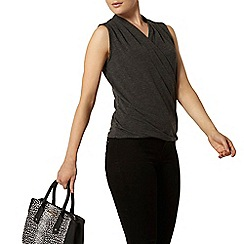 Dorothy Perkins - Charcoal wrap front top