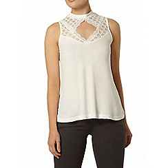 Dorothy Perkins - Ivory lace victoriana sleeveless top