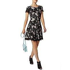 Dorothy Perkins - Black floral lace trim dress