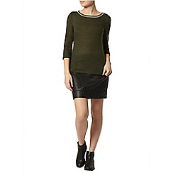 Dorothy Perkins - Green embellished neck top