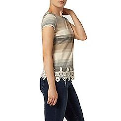 Dorothy Perkins - Grey stripe lace hem top