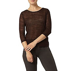 Dorothy Perkins - Chocolate guipure jersey knit top