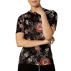 Dorothy Perkins - Black folk print high neck top