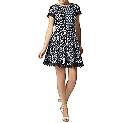 Dorothy Perkins - Navy ditsy lace trim dress